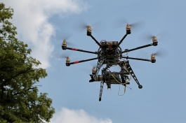 Close up of Octocopter flying the Sony FS100