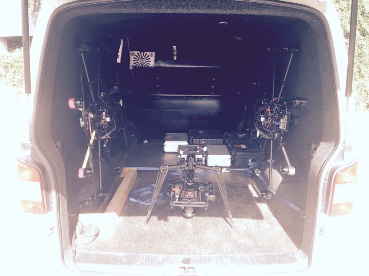 Drone, UAV, Octocopter, SUAS, Skyjib, Movi M15, Red Dragon, van mounted