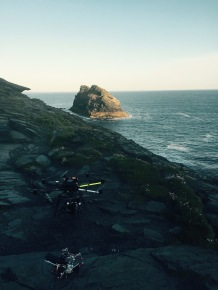 Just before take off with the Skyjib, Movi M15 and Red Dragon at Boscastle.