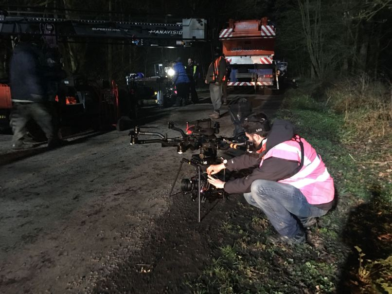 Curfew, Sky One, Drama filming, Drone, Drone Crew, Drone team, alta 8, alexa mini, manchester, drone filming, aerial cinematography, heavy lift, octocopter, multi rotor, movi pro, techno crane, freefly systems, congested area, night shoot