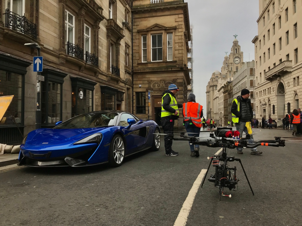 Curfew, Sky One, Drama filming, Drone, Drone Crew, Drone team, alta 8, alexa mini, manchester, drone filming, aerial cinematography, heavy lift, octocopter, multi rotor, movi pro, freefly systems, congested area, Liverpool, chase sequence, Mclaren P1, Flying camera company