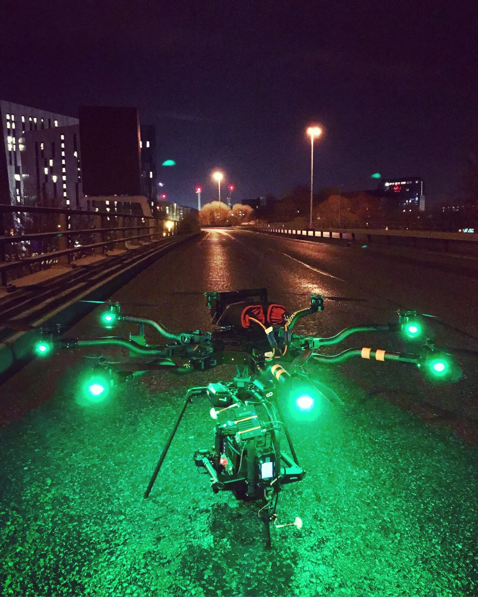 Curfew, Sky One, Drama filming, Drone, Drone Crew, Drone team, alta 8, alexa mini, manchester, drone filming, aerial cinematography, heavy lift, octocopter, multi rotor, movi pro, freefly systems, congested area, Liverpool, chase sequence, mancunian way, night shoot, Flying camera company