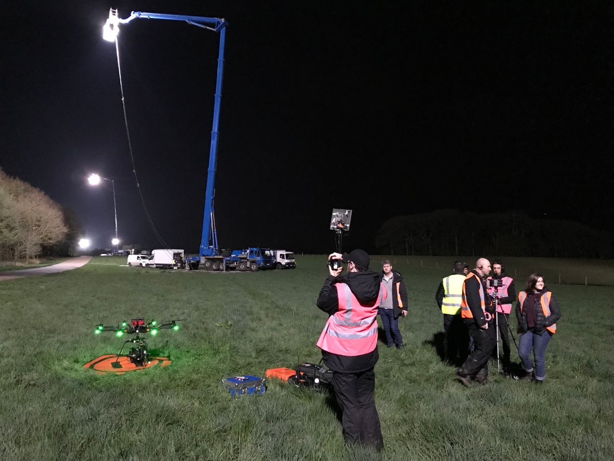 Curfew, Sky One, Drama filming, Drone, Drone Crew, Drone team, alta 8, alexa mini, manchester, drone filming, aerial cinematography, heavy lift, octocopter, multi rotor, movi pro, freefly systems, congested area, countryside, chase sequence, lighting, night shoot, Flying camera company