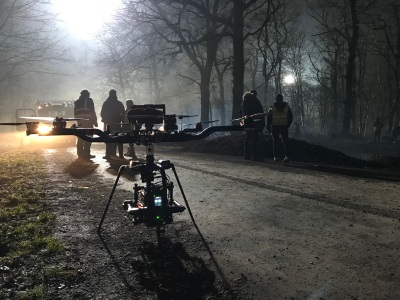 Curfew, Sky One, Drama filming, Drone, Drone Crew, Drone team, alta 8, alexa mini, manchester, drone filming, aerial cinematography, heavy lift, octocopter, multi rotor, movi pro, freefly systems, congested area, countryside, chase sequence, lighting, night shoot, Flying camera company, woods
